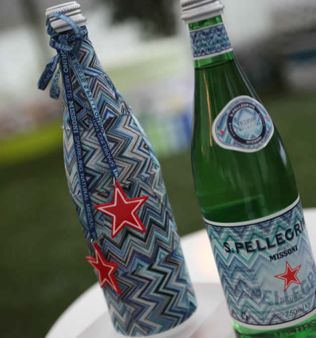 San Pellegrino water dress up in Missoni