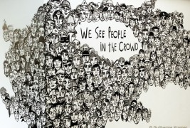 We see people in the crowd