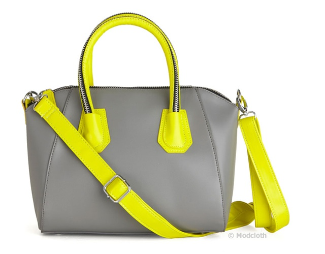 Grey and fluo bag | Image courtesy of Modcloth