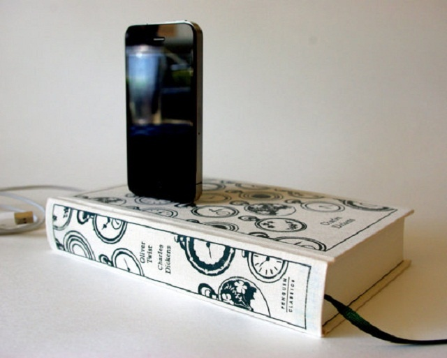 Book design iPhone chargers | Image courtesy of RichNeeleyDesigns