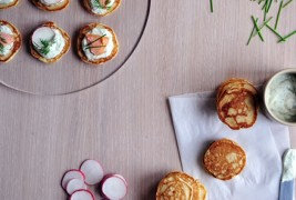 Blini with dill crme fraiche