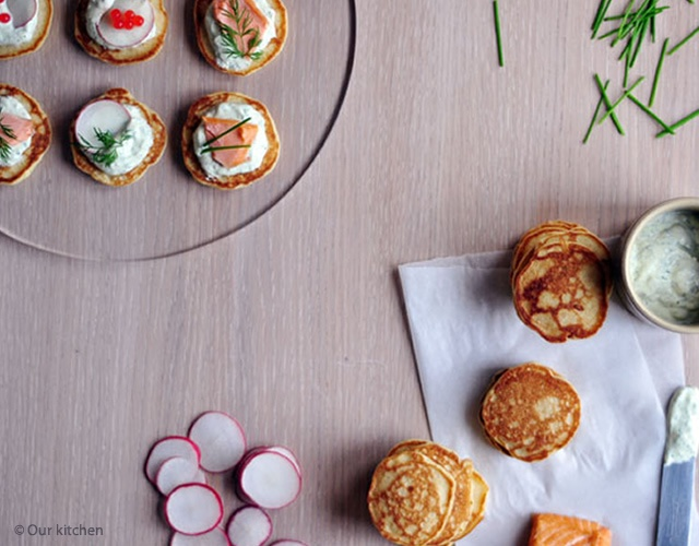 Blini with dill crème fraiche | Image courtesy of Our kitchen