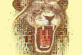 Lions mosaic portraits