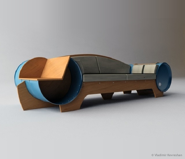 Barrel couch by Vladimir Kevreshan