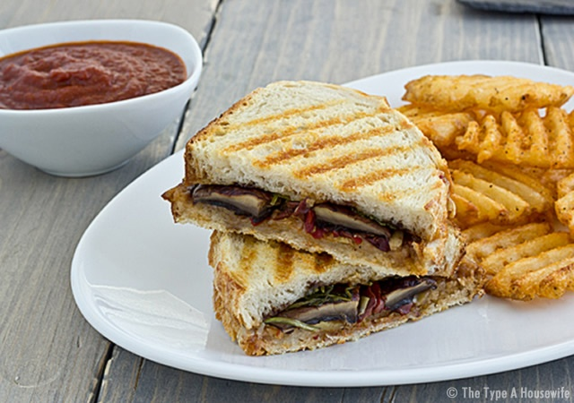 Portabella panini with artichoke tapenade | Image courtesy of The Type A Housewife
