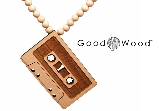 Cassette wood necklace