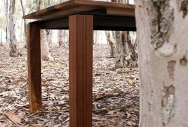 Walnut & Steel table - thumbnail_1