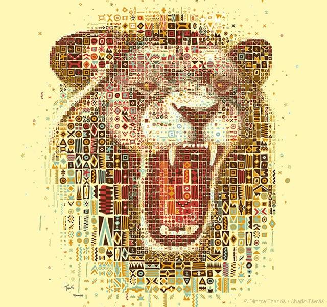 Ritratti mosaico di leoni