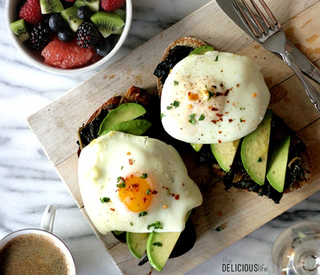 Poached eggs on avocado and kale toast