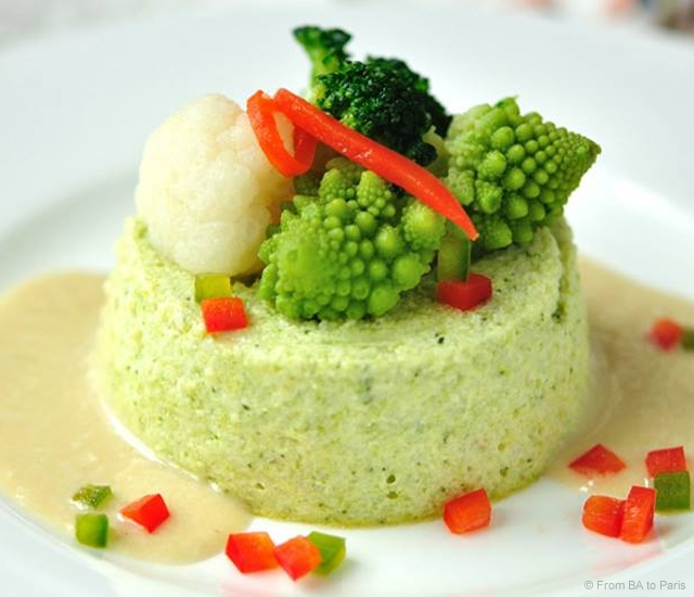 Broccoli flan in Bagna Cauda sauce