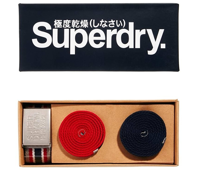 Superdry canvas belt set